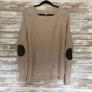 J. Crew sweater with leather shoulder pads